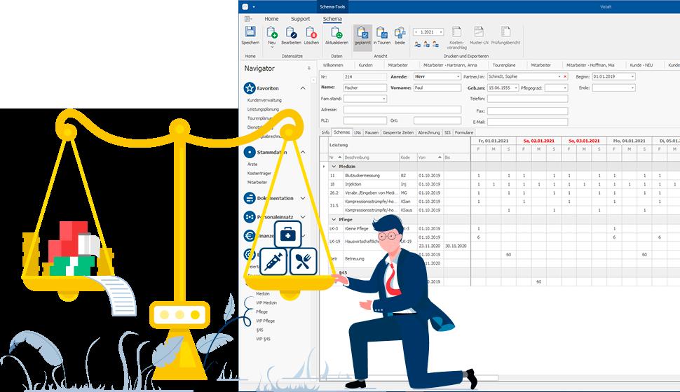 Pflegedienst software kostenvoranschlag: Detaillierte monatliche Abrechnung mit VISTALT